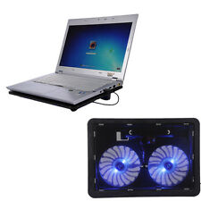 "Laptop Cooling Pad 2 Fan USB Powered Cooler Base LED Radiator for 14 ""15.6 ""17"""