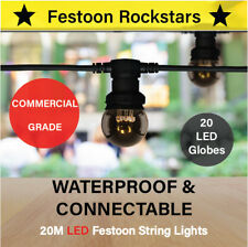 20m LED Festoon String Lights   Commercial Grade   Permanent Outdoor   Party