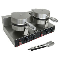 Double Waffle Maker Electric Commercial Catering Stainless Steel FREE Tongs