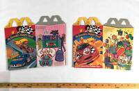 McDonalds 1998 Hot Wheels Barbie Lot of 2 Happy Meal Boxes Cardboard Gift Party