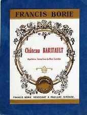 SAINTE CROIX DU MONT VIEILLE ETIQUETTE CHATEAU BARITAULT 1940/1950   §15/02/17§