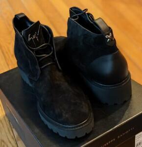 "$1095 Giuseppe Zanotti ""Kammando"" Lace Up Suede/Leather Boots Black 44 US 11"