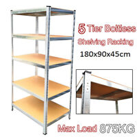 1.8M Heavy Duty Metal Galvanised Shelving Rack Unit 5 Tier Garage Storage Shelf