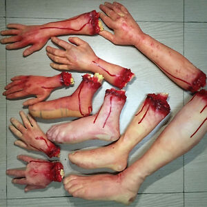 Halloween Zombie Fake Body Bloody Severed Parts Arm Hand Foot Scary Prank To*d