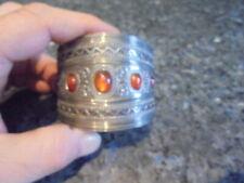 beau gros bracelet d'esclave en argent  avec pierres