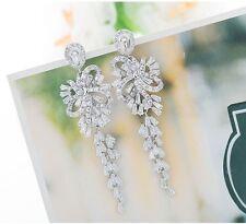 Luxury Sparkly 18K White Gold F AAA Zircon Chandelier Earrings Bridal Jewellery