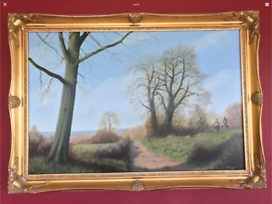 EDWARD HERSEY OIL PAINTING ENGLISH COUNTRYSIDE HORSES HOUNDS HUNTING 1980's 1984