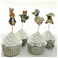 🐰12 x Peter Rabbit CUPCAKE TOPPER Pick. Party Supplies Food Lolly Loot Bag