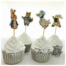�Ÿ�12 x Peter Rabbit CUPCAKE TOPPER Pick. Party Supplies Food Lolly Loot Bag