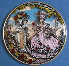 VINTAGE CRINOLINE LADY PINKIE ROSE GARDEN CONVEX GLASS ROUND PICTURE THERMOMETER