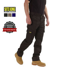 Mens Cargo Combat Work Trousers Size 28 to 52 Black Navy Khaki By SITE KING / 02