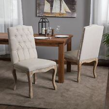 (Set of 2) French Vintage Design Weathered Wood Dining Chair w/ Nailhead Accents