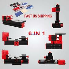 6 In 1 Mini Metal Wood Motorized Lathe Machine Metalworking Hobby DIY Tool 24W