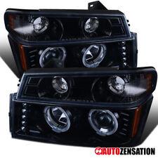 For 2004-2012 Colorado Canyon Glossy Black Halo Projector Headlights+Corner Lamp