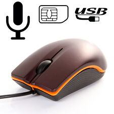 PC USB Spy Real Mouse GSM SIM Hidden Ear Voice Audio Monitor Listening Call Back