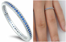Sterling Silver 925 STACKABLE ETERNITY BLUE SAPPHIRE CZ BAND RING 2MM SIZE 4-10