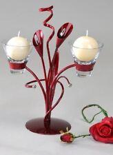 640840 KerzenLeuchter mit Glas Aida bordeaux rot für 2 Kerze 33cm