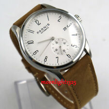 42mm parnis white dial date window leather seagull 1731 automatic mens watch P95