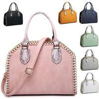 Ladies Chain Edge Handbag Shoulder Bag Girls Faux Leather Animal Grab Bag 7731