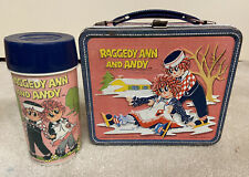 Vintage Raggedy Ann & Andy Metal Lunch box With Thermos 1973 Aladdin