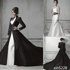 Gothic Medieval Wedding Dress White Black Sweetheart Bride Gown A Line With Coat