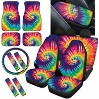 Tie Dye Fashion Car Seat Covers for Women Full Set with Front & Rear Floor Mats