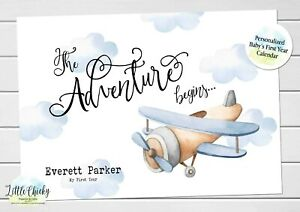 Airplane Baby's First Year Calendar, Personalized Calendar for new baby