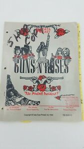 Original Data East Guns N Roses  Pinball Operations manual 1990 Pinball Incident