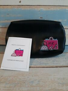 """Vtg MARY KAY Cosmetic Makeup Bag Embroidered Beaded 7""""x4.5""""x2""""  travel black"""