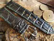 Genuine BLACK CROC STAMP LEATHER Hand made PANERAI Straps 26/24 mm +2 Buckles