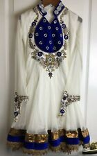 Indian Dress, Girls, A-Line, Size 26, 8-10 US, Embroidered , Beaded India White