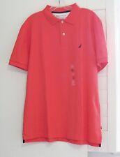Nautica Mens Short Sleeve Performance Deck Polo Shirt Light Mars Red Sz L - NWT
