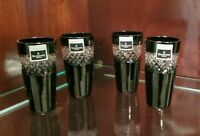 WATERFORD BLACK CUT CRYSTAL SHOT GLASSES BY JOHN ROCHA SET OF (4)- MINT IN BOX