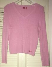 ESPRIT Cable Knit V-Neck Pullover Sweater~Pink