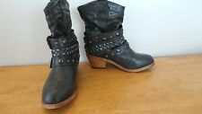 MAURICES Black Western Buckle Ankle Boot Sz 6: dressy/cowboy/shoe New