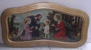 Antica icona capoletto cromolito Madonna San Giuseppe Gesù Angelo Sacra Famiglia