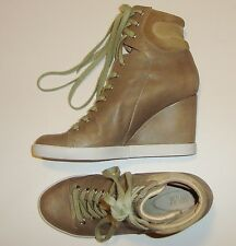 BEAUTIFUL SEE by CHLOE OLIVE GREEN LEATHER & SUEDE WEDGE SNEAKERS BOOTIES 40
