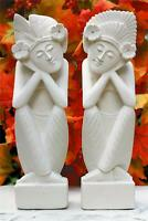 Set of 2, Hand Carved Limestone Sculpture Statue Home Decor Artwork Stone Gift