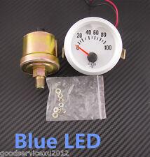 """12V Blue LED 2"""" 52mm Auto Oil Pressure Meter Gauge 0-100PSI + Sensor For Lincoln"""