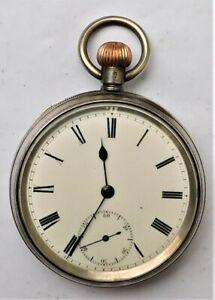 NO RESERVE HM1910 Silver Pocket Watch Vintage Antique