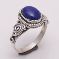 925 Solid Sterling Silver Ring US Size 6, Natural Lapis Gemstone Jewelry R2302