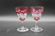 """(2) Val St Lambert Belgian Tilly Cranberry Pink Cut To Clear 4 3/4"""" Wine Glasses"""