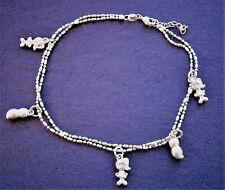 NT712*) MARKED 925 SILVER PLATED PEANUT GIRL CHARM BOBBLE CHAIN BRACELET