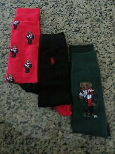Polo RALPH LAUREN Socks Cocoa Bear Holiday Winter Three Pair Socks Set