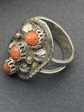 Vintage Modernist Brutalist Sterling Silver Coral Ring Uk Sz O