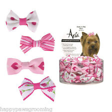 DOG Grooming Pretty in Pink RIBBON Bows Barrettes 48 pc Stripe,Floral,Heart,Dots
