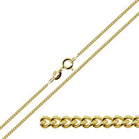 "9ct Gold Plated on Sterling Silver 1.8mm Curb Link Chain Necklace 16 - 40"" inch"