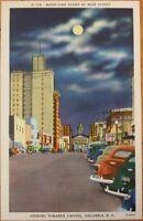 1950 Linen Postcard: Main Street at Night/Moon - Columbia, South Carolina SC