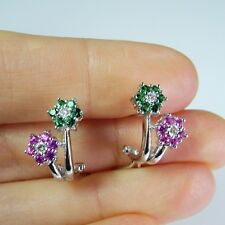 Vivid Natural Emerald Diamond Ruby Flower Floral Daisy Earrings 14K White Gold