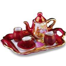 Dollhouse Tea Set Red Lustre Limoges Style 1.350/5 Reutter Miniature